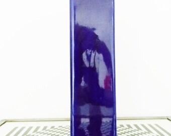 vintage 1970s Cor Unum architectural blue block vase - Dutch pottery - ceramic modernist dutch vase