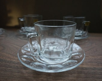 Arcoroc Clear Glass Mugs and Saucers Modern