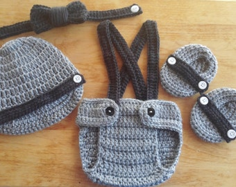 Crochet Baby Boy Gray & Black Outfit Photo Prop Newborn Photos Baby Shower Gift  Diaper Cover Booties Newsboy Hat MADE TO ORDER