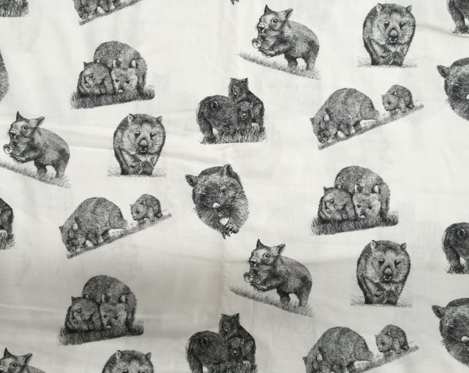 Wild Wombats  fabric collection by Cindy Watkins Back & White original design
