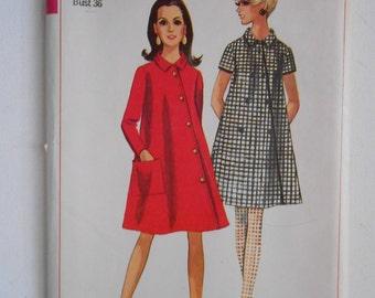 Vintage 60s A Line Coat Dress Pattern Simplicity 7325 Size 16 Bust 36 UNCUT