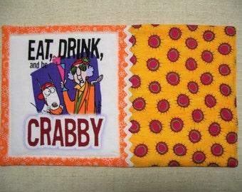 Maxine, Fabric Mug Rug, Snack Mat, Candle Mat, Funny, Orange Mug Rug