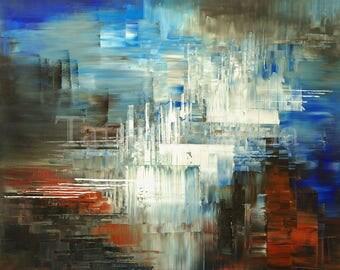 Colorful glacier giclee print on CANVAS of original painting IRON RIVER by Tatiana Iliina