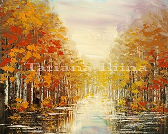 Intricately detailed autumn forest path giclee print on canvas of original landscape painting RESET water autumn - by Iliina
