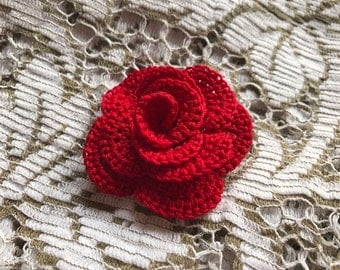 Lovely Rose Pattern - Crochet Flower Pattern - Crochet Appliqué - Embellishment - PDF Download - Instructions - Tutorial