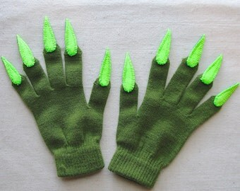 Gloves with claws, olive green and neon green, for Halloween costume or pretend play, one size stretch glove