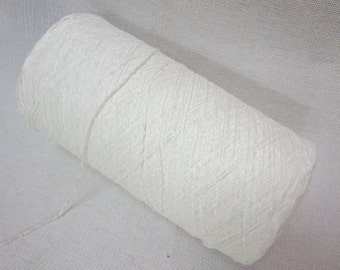 One Cone of Thin Chenille Viscose Yarn -  Snow White - Machine or Hand Knitting