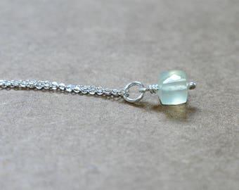 prehnite cube pendant with sterling silver chain. small prehnite pale green pendant necklace with sterling. pale green prehnite jewelry