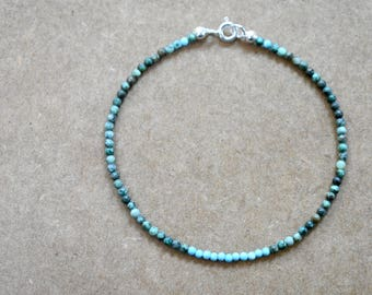 tiny African turquoise beaded bracelet with tiny blue turquoise. thin stacking bracelet. African turquoise and tiny blue turquoise jewelry.