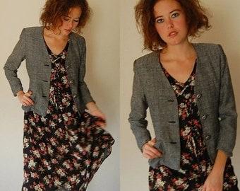sale 25% rainy days sale Structured Blazer Vintage 80s Textured Linen Shrunken Fit Blazer Jacket (s)