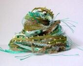 fairy troll fiber effects™  12yd art yarn bundle . jade olive teal moss cream mixed novelty yarn pack . textile ribbon embellishment trim