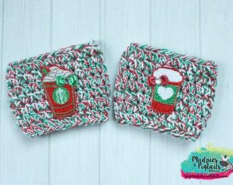 Crochet Coffee Cozy { Red Starbucks Cups } red, green white, holidays gift cozy, Starbucks crochet Coffee cup cozie coffee sleeve