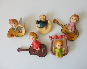 VINTAGE 1960s collection of 5 ANGEL ORNAMENTS