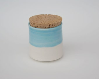 Corked Jar / Light Blue Corked Jar / Lidded Jar / Loose Leaf Tea Jar / Corked Ceramic Jar with Natural Cork Lid