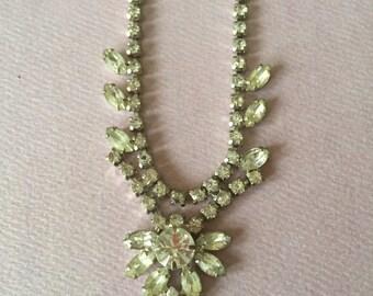 Vintage Rhinestone Necklace Glam wedding prom bride bridesmaid Great Gatsby