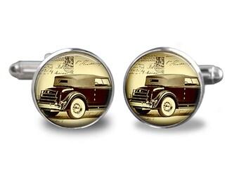 Old Car Cufflinks - Retro Vintage Car Cufflink - Classic Car Cufflinks-Keepsake Gift For Groomsmen-Fathers Day-Groom Cuff links