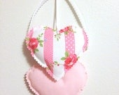 Pink stripped Heart with roses hung with a pink heart. Hearts Wall hanging, Fabric Hearts Wall Hanging, Valentine Decorations