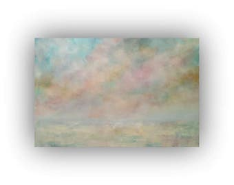 Original Abstract Landscape Painting on Canvas, Winter Snow Sky and Clouds Oil Painting, 24 x 36 Blue Pink and Yellow Palette Knife Art