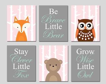 WOODLAND Nursery Decor Girl Woodland Nursery Art Forest Animal Nursery Decor - Stay Clever Little Fox Bear Owl Nursery Art Set of 6 Prints