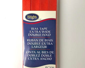 Wrights Bias Tape - Extra Wide - Double Fold - Orange - 3 Yards - Binding for Sewing - Half Inch