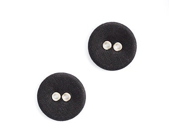 Large black buttons with two holes - Set of two linen fabric covered buttons in vintage style