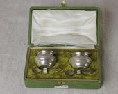 Antique French Salt Cellar Set, in Original Box with Spoons, SALE, Get 25% OFF, Use coupon code 25percentoffwow at checkout!