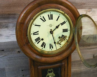 Antique Wood CLOCK Trademark S Winding with Key and Pendulum- Wooden Housing- Wall Clock- Roman Numerals
