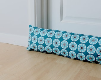 Draught Excluder Daisy Daisy Teal Blue Floral Scandi Fabric