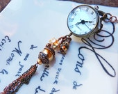 Glass Orb watch necklace - glass ball gears steampunk tassel watch necklace