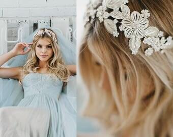 Bridal Headband, Wedding Hair Piece, Bridal Hair Piece, Gold Gilded Hair Band, Swarovski Crystal Comb, Hair Jewelry, Bridal Accessory, 1732