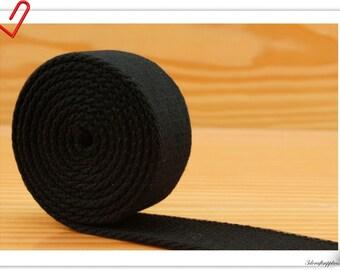 5 yards of 1 inch (25mm) Heavy weight  cotton webbing  purse strap webbing Black ZC5