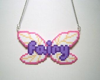 fairy wings perler necklace