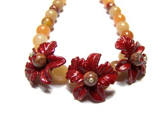 Red Aventurine Necklace Palm Frond Necklace Beaded Necklace Jewelry for Women Top Selling Jewelry Popular Jewelry Gifts for Women