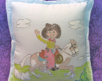 Boy Tooth Fairy Pillow - Little Cowboy  - Hand Painted -  Name Personalized FREE