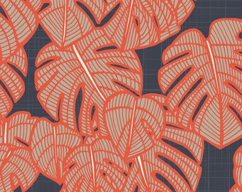 Monstera Fabric - Delicious Monster Red By Patricia Braune - Red and Navy Monstera Leaf Cotton Fabric By The Yard With Spoonflower