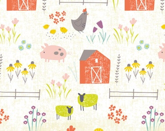 Retro Farm Fabric - Wildflower Farm By Shindigdesignstudio - Sheep and PIg Nursery Mod Cotton Fabric By The Yard With Spoonflower