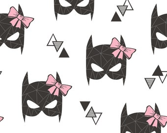 Superhero Fabric - Girly Geometric Bat Mask With Pink Bow On White By Caja Design - Superhero Cotton Fabric By The Yard With Spoonflower