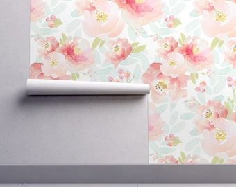 Floral Wallpaper - Pink Plush Florals A by Indy Bloom Design - Custom Printed Removable Self Adhesive Wallpaper Roll by Spoonflower