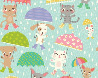 Raining Cats and Dogs Fabric - Umbrellas By Laura_Mayes - Abstract Umbrella Gender Neutral Baby Cotton Fabric By The Yard With Spoonflower