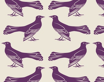 Mod Purple Birds Fabric - Grackle Pattern In Purple By Eleventy-Five - Purple Birds Cotton Fabric By The Yard With Spoonflower