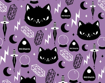 Magic Kitty Fabric - Cat Magic By Emandsprout - Purple and Black Cat Magic Kawaii Crystal Ball Cotton Fabric By The Yard With Spoonflower