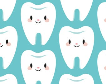 Blue Dentist Teeth Fabric - Cute Molar Teeth (Blue) By Petitspixels - Kawaii Tooth Dental Cotton Fabric By The Yard With Spoonflower