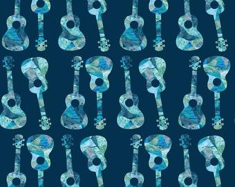 Ukulele Hawaiian Watercolor Fabric - Ukulele Watercolor - Blue By Owlandchickadee - Blue Musical Cotton Fabric By The Yard With Spoonflower