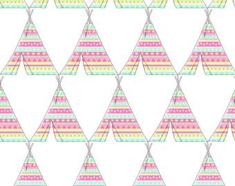Rainbow Teepee Fabric - Aztec Tee Pee By Hudsondesigncompany - Boho Tribal Teepee Nursery Decor Cotton Fabric By The Yard With Spoonflower