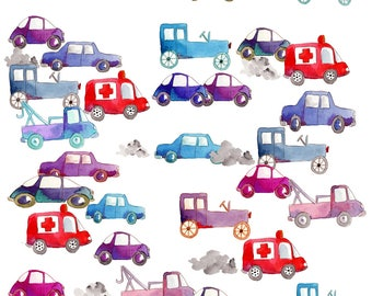 Automobiles Fabric - Circulation By Nadja Petremand - Watercolor Cars Nursery Decor Cotton Fabric By The Yard With Spoonflower