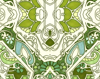 Art Nouveau Fabric - Life On A Green Paisley By Edsel2084 - Art Deco Greenery Vintage Home Decor Cotton Fabric By The Yard With Spoonflower