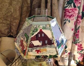 "Grandma Moses Chimney Lamp Shade, Small Lampshade in Vintage Bark Cloth, 4.5"" t x 10"" b x 5.5 high, Hurricane Shade - Country Style"