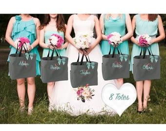 Bridesmaid Gifts, SET of 8 , bridesmaid gifts , tote bag , beach bag , bachelorette party gift ,wedding bag , maid of honor
