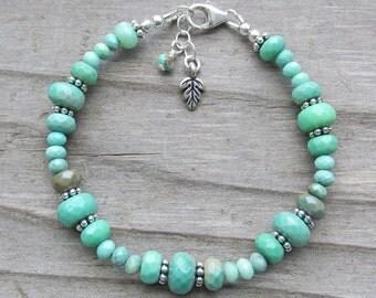 Bright Green Chrysoprase Silver Leaf Healing Gemstone Bracelet, Gift for Her