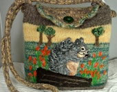HOLIDAY SALE Felted Purse, Felted Handbag,Felted Squirrel,squirrel art,handmade knitted purse